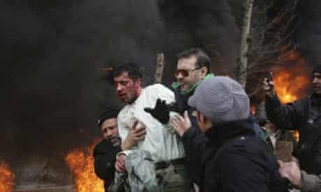 Iran protests policeman beaten