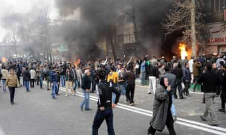 Iranian protesters hold demonstrations in Tehran.