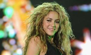 Shakira performing live in Spain last year