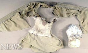 Plane bomber suspect Umar Farouk Abdulmutallab's underpants with an explosive packet