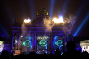 2002-03: 2002: Fireworks celebrate the launch of the euro in Brussels