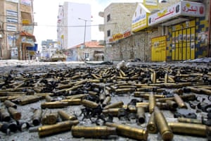 2002-03: 2002: Shell cases scattered in the West Bank town of Ramallah