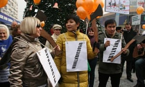 Activists demonstrate in Kazakhstan on human rights day