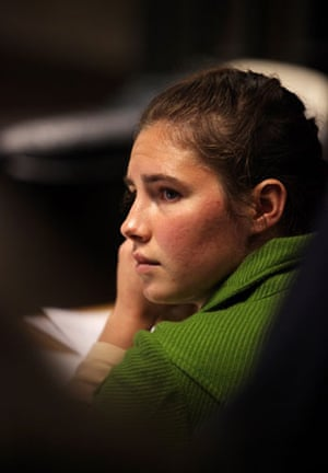 Meredith Kercher trial: Defendant Amanda Knox looks on during a break in the trial in Perugia