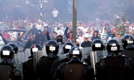 Republicans confront police during rioting in Belfast in 2005