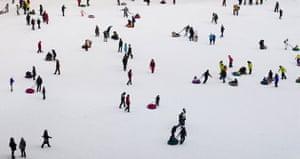 24 hours: Artificial ski slope outside Birds Nest in Beijing