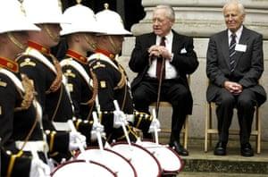 Richard Todd: Actor and D-Day veteren Richard Todd watching a Royal Marine band