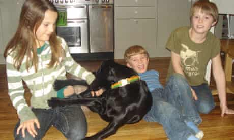 Lucy Atkins's children Isabella, Ted and Sam with Rocket.