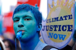 Wave climate change demo: A climate change demonstrator protests in London