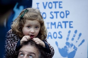 Wave climate change demo: Fenella, 3, takes part in The Wave, climate change march