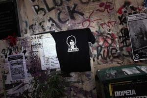 Violence in Athens: A T shirt with a portrait of 15-year-old Alexis Grigoropoulos