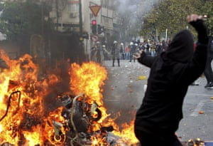 Violence in Athens: Protesters hurl stones at riot policemen during clashes