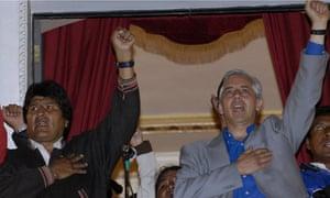 Bolivian President Evo Morales elebrates election victory in La Paz