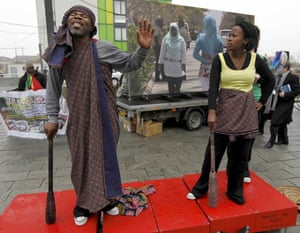 Copenhagen diary: A theatre group performs outside Bella centre COP15