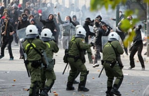 More violence in Athens: Protesters clash with riot police during a demonstration