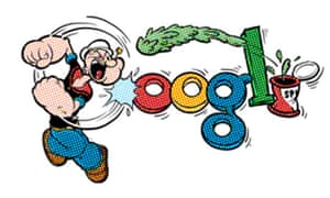 Google doodle featuring Popeye