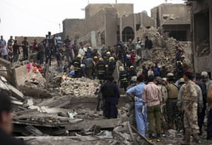 Baghdad bomb attacks: The site of a bomb attack near the new Finance Ministry in Baghdad