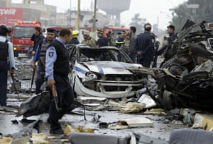 Baghdad bomb attacks: The site of a bomb attack near the Labour Ministry building