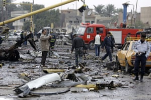 Baghdad bomb attacks: The site of a bomb attack near the Labour Ministry building in Baghdad