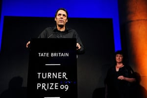 Wright wins Turner: Richard Wright accepting the Turner prize 2009 from Carol Ann Duffy
