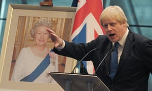 Boris Johnson addresses immigrants during a citizenship ceremony at City Hall, queen, union flag