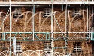 A cell block undergoing maintenance at Wandsworth prison, London