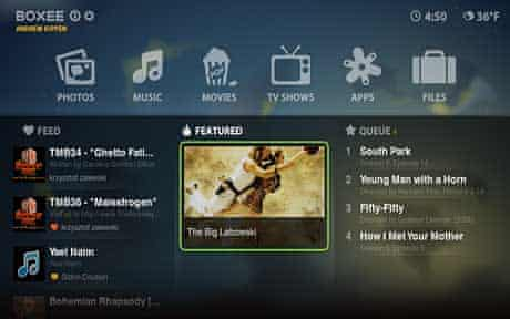 The redesigned Boxee home screen
