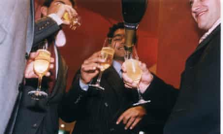 City boys drinking champagne