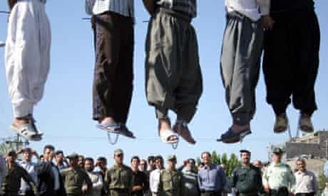 Convicted men publicly hanged in Mashhad, north-west Iran, in 2007