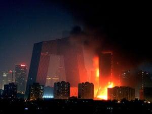 Beijing fire: Fire at the Mandarin Oriental Hotel in Beijing, China - 09 Feb 2009