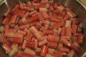 Rhubarb bottling: Pour the syrup over the rhubarb and allow to soak overnight