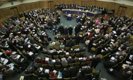 Members of the General Synod debate the the ordination of women bishops