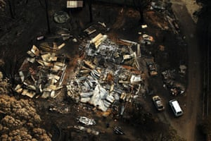 Bushfire devastation: The burnt out remains of a house in Kinglake