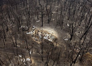 Bushfire devastation: The burnt out remains of a house in the Kinglake region