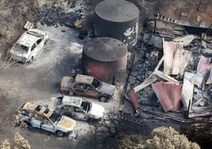 Bushfire devastation: The burnt out remains of cars in the Kinglake region