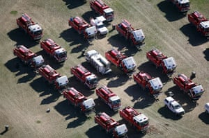 Bushfire devastation: CFA fire trucks are parked together on the Whittlesea Oval in Melbourne