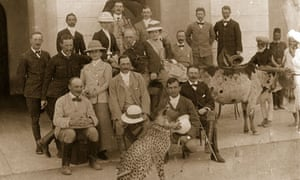 Colonials with pet cheetah during British raj