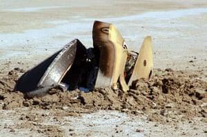 Space debris: The Genesis spacecraft capsule after it crashed in the Utah desert.