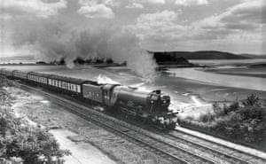 High-speed trains: The Flying Scotsman steam train at Grange-Over-Sands.