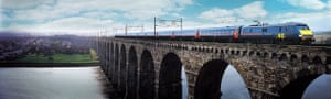 High-speed trains: A GNER intercity train on the Royal Border bridge at Berwick upon Tweed.