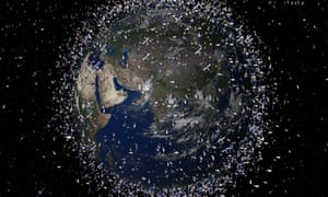 A computer-generated of objects and satellites orbiting Earth