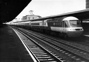 High speed trains: An Inter-City 125 train pulls into Kings Cross station, London in 1982.
