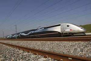 High speed trains: The V150 TGV train which set a new world speed record.