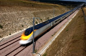 High speed trains: A Eurostar train travels near Rochester, Kent in July 2003.