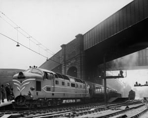 High speed trains: The English Electric Company's new locomotive, the Deltic (type 5) diesel.