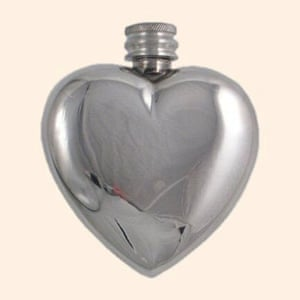 Valentines presents: Pewter heart hip flask