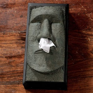 Valentines presents: Easter Island face tissue box cover.