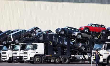New minis await transportation to dealers at BMW's plant at Cowley, Oxford