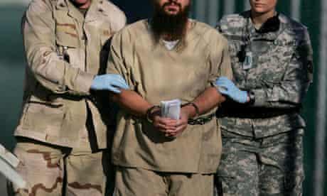 A shackled detainee at Guantanamo Bay