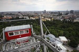 Big wheels : The Volksprater Riesenrad Ferris Wheel in Leopoldstadt in Vienna.
